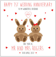 Personalised 1ST first Wedding Anniversary Card Husband Wife Rabbits