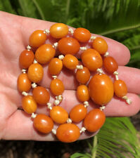 Antique Natural Baltic Butterscotch Egg Yolk Amber Swirl Bead Necklace 17.6g