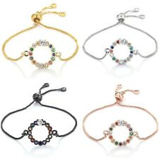 🇬🇧 Rainbow Jewellery Round Zirconia pendant slider adjustable Chain Bracelet