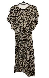 Sweet Papillon Leopard Print Dress OS  10 12 14 Flutter Sleeve Bias Cut Byronbay
