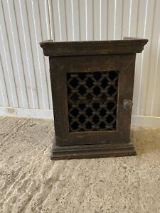 Rustic wooden wall hung Small cupboard Key Box Wrought Iron Front Grill