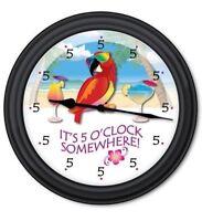 5 o'clock Somewhere Parrot WALL CLOCK - Tiki Bar Beach Margarita Daiquiri - GIFT