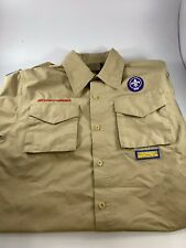 Boy Scout Tan Short Sleeve Shirt Boys Large With Patches Excellent