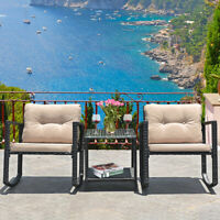 Topbuy 3 PCS Patio Rattan Wicker Chaise Chair Table Set Outdoor Rattan Furniture