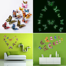 12Pcs 3D Double Layer Butterfly Glow In the Dark Home Wall Sticker Decal Decor