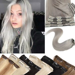 8pcs Real Remy Clip in 100% Human Hair Extensions Full Head 8pcs Straight #Grey
