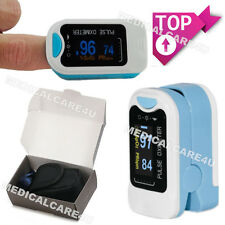 Finger tip Pulse Oximeter Sp02 Oxygen Monitor - Blue + Case + Rope, OLED CMS50N
