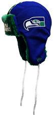 Seattle Seahawks Throwback New Era Helmet Head Knit Trapper, One Size