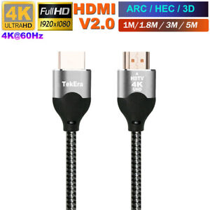 Braided HDMI Cable v2.0 Ultra HD 4K@60hz 2160p 1080p 3D High Speed Ethernet HEC