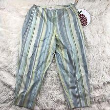 TALBOTS 100% PURE SILK Shauntung Striped Trousers Pants Size 16W Petite