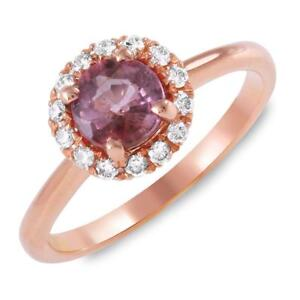 Certified 1.02cttw Pink Sapphire 0.40cttw Diamond 14KT Rose Gold Ring