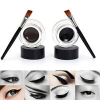 Makeup 2Pcs Waterproof Eyeliner Gel Cream Eyes Cosmetic Black & Brown+ 2x Brush