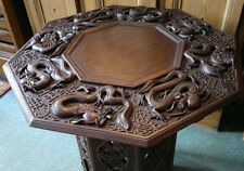 Large Antique Anglo Indian Carved Dragons Octagonal Folding Side Table c1900