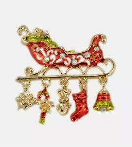 Enamel Christmas Santa's Sleigh Brooch, Scarf Clip with Charms