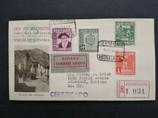 Spanish Andorra: 1949 02/15 #40, 42, 43, 46 Registered First Day Cover to Usa