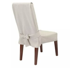 Sure Fit Farmhouse Basketweave Dining Room Chair Slipcover - Oatmeal