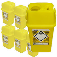 Qualicare 1lt Sharps Needle Syringe Tattoo Waste Disposal Bin, x 6 Surgery Pack