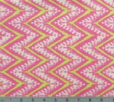 Cotton Quilt Sewing Fabric Ikat Chevron Pink Lemon White Colors 1 YARD