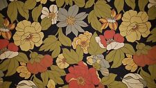 Outdoor Olive Orange & Gold On Black 2.5 yard piece Upholstery Fabric