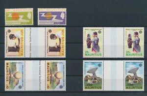 LN71649 Mauritius 1983 communication year gutter pairs MNH