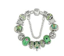 "Ladies Green Turtle Lovers European Glass Bead Charm Silver 7.5"" Bracelet 19cm"