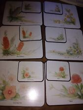 JASON VINTAGE 6 AUSTRALIAN WILD FLOWERS COASTERS AND 6 PLACEMATS