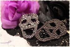 Orecchini resina a forma di teschio strass antracite monachella *earrings skull