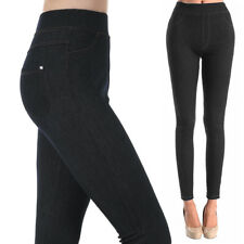 Womens Stretchy Skinny Jeggings Black Soft Leggings Jeans Pants Slim One Size US