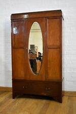 Antique vintage mahogany freestanding mirror door wardrobe