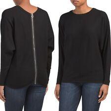 CARMEN MARC VALVO L/S Pullover Sweater Back Zipper Detail, Size Large NEW $58