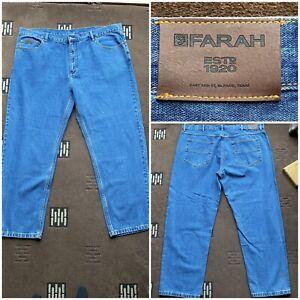 "Men's Farah classic blue jeans waist 46"" inside leg 30"" zip fly   (80)"