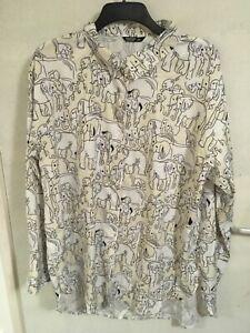 BNIP *SHEIN CURVE* Unisex quirky ELEPHANT Yellow White Shirt UK Size 22 3XL