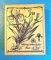 PSX Iris & Dragonfly K-3131 Lg. Wood Rubber Stamp Shakespeare Saying EUC RETIRED
