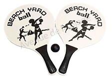 Raquettes de plage en bois et noir beach ball jeux de plage, jouet jardin neuf