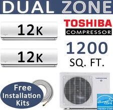 21 SEER Dual Zone Ductless Mini Split Air Conditioner - 2 x 12000 BTU: 15ft kits