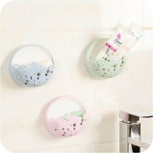 Wall Mount Holder Sucker Organizer Soap Dish Shower Kitchen Bathroom Storage Box