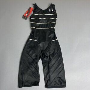 NWT TYR Womens Size 32 Aquashift Short John Aeroback Black/White Racing Swimsuit
