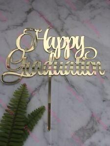 Happy Graduation Acrylic Gold Mirror Party Cake Topper