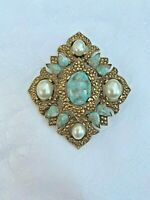 Vintage Sarah Coventry REMEMBRANCE Gold Tone, Faux Pearl &Blue Stone Pin Pendant