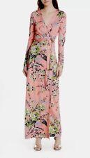 Diane Von Furstenberg Avalon Hyacinth Floral Shawl Collar Maxi Wrap Dress 4 $698