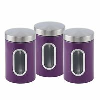 Stainless steel Canister set 3 pcs with Window in 6 colours (Purple)