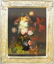 Jozsef FURST (Budapest 1947) Natura morta di fiori e frutta Olio su tavola 50x40