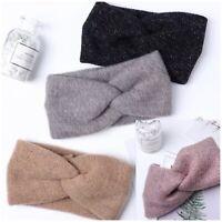 Women's Twist Knot Knitted Ear Warmer Soft Woolen Knit Headband Turban Bow Hat