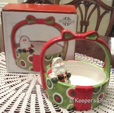 Fitz & Floyd HOLIDAY CHEER Santa Claus Collectible Basket Ceramic Retired Mint