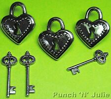 SILVER HEART PADLOCK & KEYS - Lock Keyhole Love Wedding Craft Buttons & Charms