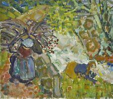 Expressionist Reisigsammlerin und Beerenpflückerin monogrammiert