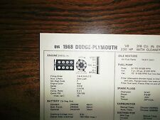 1968 Dodge & Plymouth 318 CI V8 w/CAP SUN Tune Up Chart Excellent Condition!