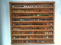 OAK small MARBLE 1/2 , 9/16 DISPLAY CASE HOLDS 189