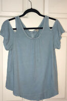 Lucky Brand Cold Shoulder Turquoise Top Size S