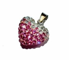 """CANDY BLING"" Pink & White Crystal & Sterling Silver Heart Pendant  (RRP £19.95)"